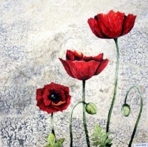 "Modern Poppies, 18"" x 18"""