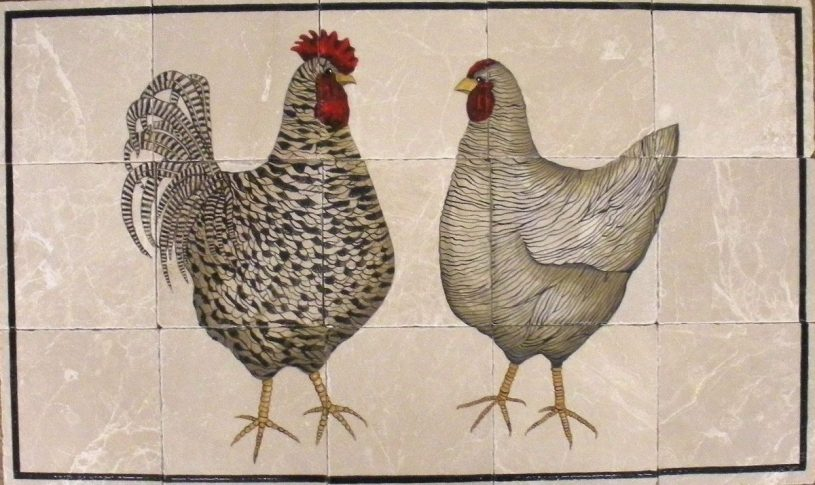 Contemporary Chickens Tile Mural, 18″ x 30″