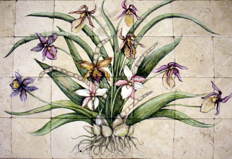 """Orchid mural 24""""x42"""""""