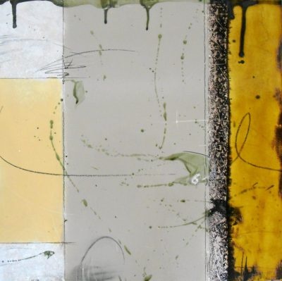 French Gray and Butterscotch Abstract Tile