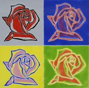 "Pop Art Roses, 12""x12"""