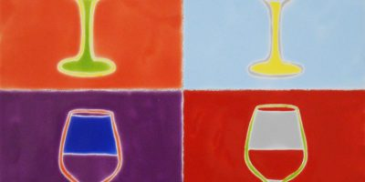 "Pop Art Wine Goblets, 12""x12"""