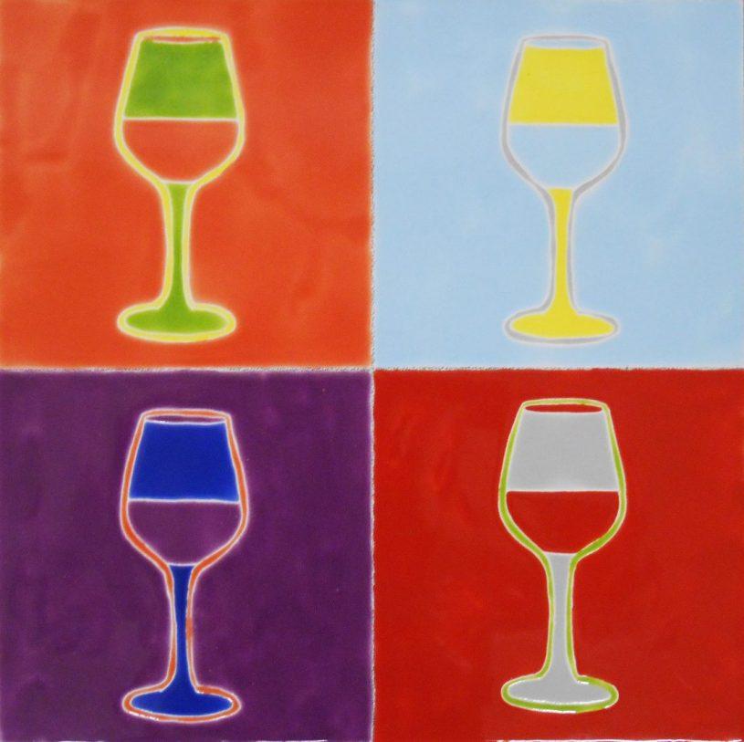 "Pop Art Wine Goblets, 12""x12"""