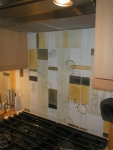 Mid Century Abstract Tile over a stove