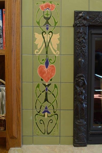 Unique art deco tiles custom hand painted tile artwork for Art deco tile mural