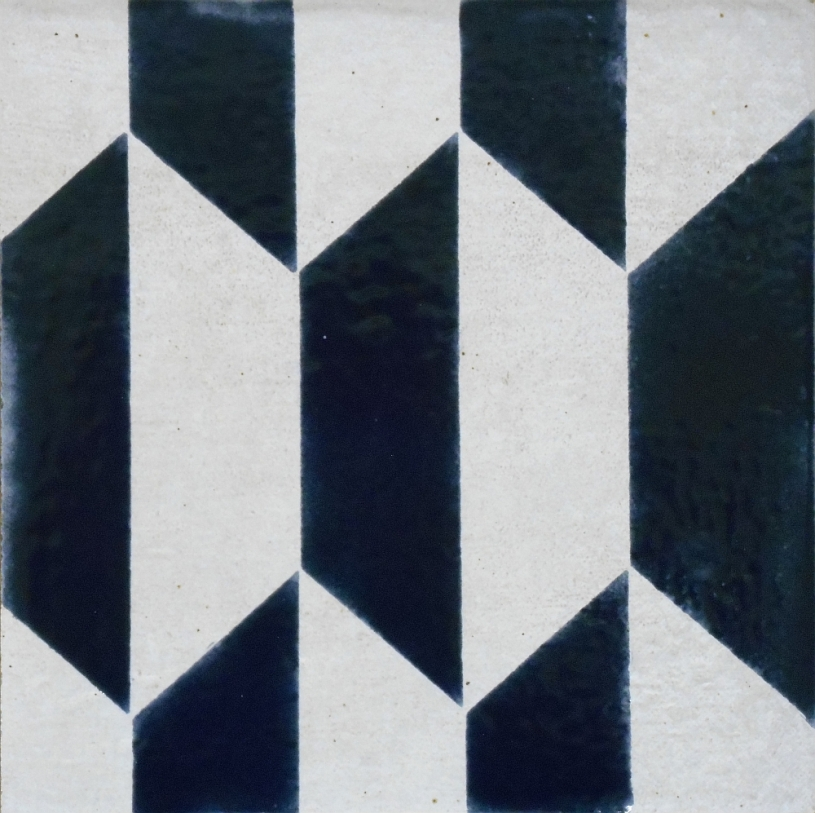 "Deep Aegean Blue Geometric Tile, 6""x6"""