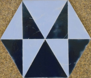 "Ocean Blue Geometric Hexagon Tile, 8""x10"