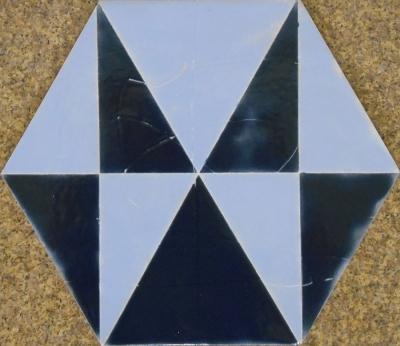 "Ocean Blue Geometric Hexagon Tile, 8""x10"
