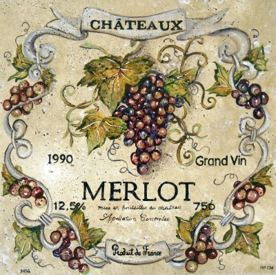"Enchanting Merlot Wine Label, 16""x16"""