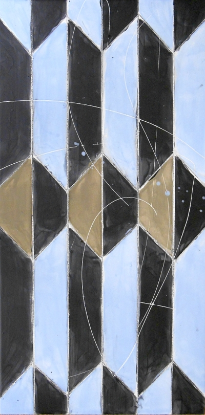 "Sky Blue and True Taupe Geometric Tile, 12""x24"""