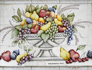 "Vibrant Fruit Bowl Tile Mural, 24""x18"""
