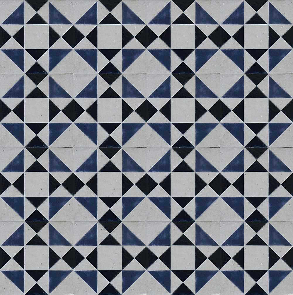 Slate Blue Geometric Tile Custom Hand Painted Tile Artwork