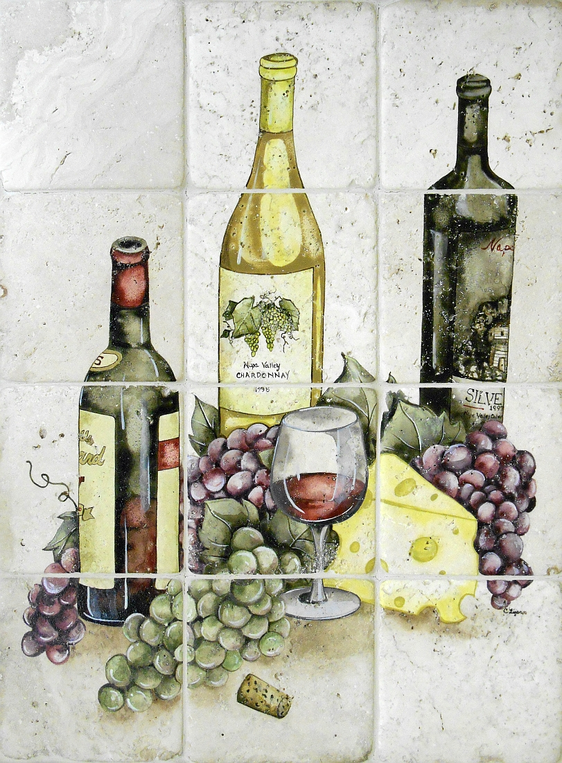 "Irresistible Wine and Grapes Tile Mural, 18""x24"""