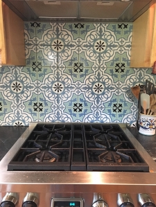 "6""x6"" Sophisticated Sage Filigree Tiles Installed"