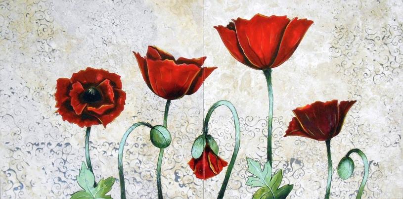 """Vibrant Poppies, 12""""x24"""""""